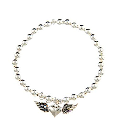 Sterling Silver Acsension Winged Heart Bracelet