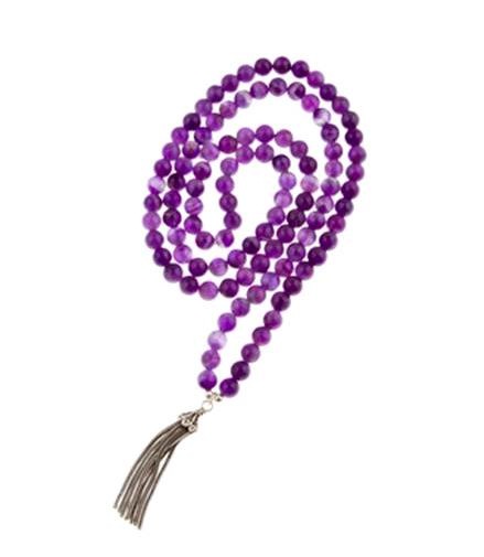 Intuition Amethyst Gemstone Mala Bead Necklace with Sterling Silver Vermeil Tassel