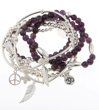 In the Spirit Amethyst and Sterling Silver Skinny Gypsy Mix Bracelet Stack
