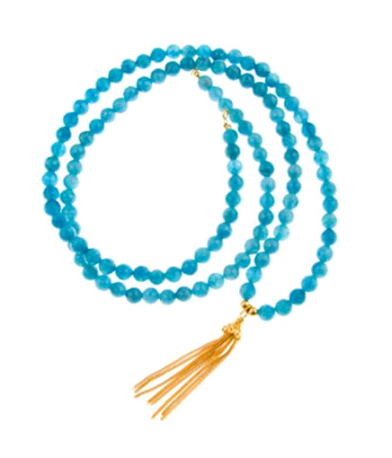 Angelic Guidance Angelite Gemstone Mala Necklace with Gold Vermeil Tassell