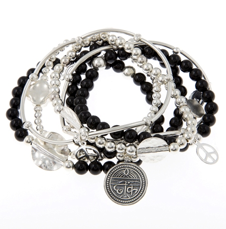 Negative Free Black Oynx and Sterling Silver Skinny Gypsy Mix Bracelet Stack