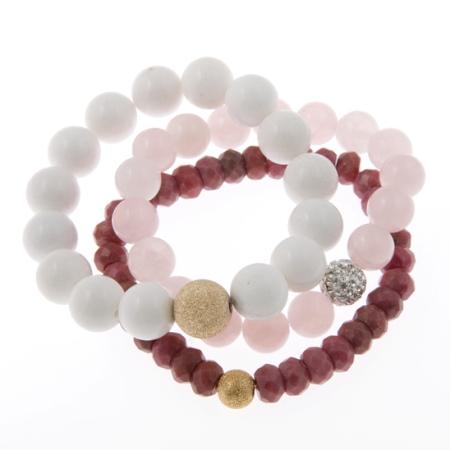 Bliss Out Karma Power Stack Gemstone Bracelets in White Jade, Rose Quartz and Rhodonite