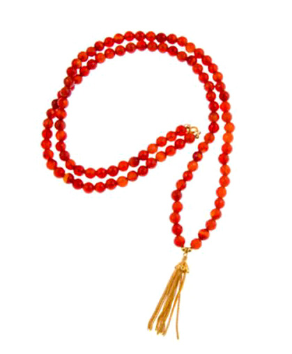 With Confidence Carnelian Gemstone Mala Necklace with Gold Vermeil Tassel