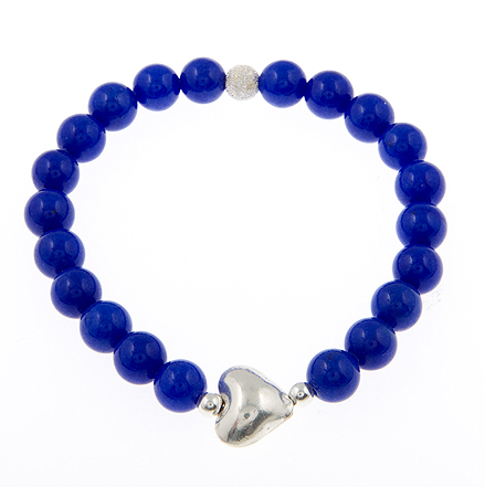 Yes to Love Cobalt Jade Gemstone Bracelet with Sideways Puffed Heart Charm