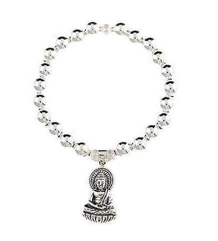 Contemplation Sterling Silver Buddha Bracelet