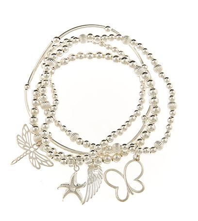 Divine Transformation Sterling Silver Skinny 4 Bracelet Set