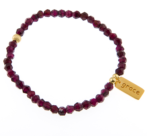 State of Grace Garnet faceted gemstone friendship bracelet featuring a Grace Charm