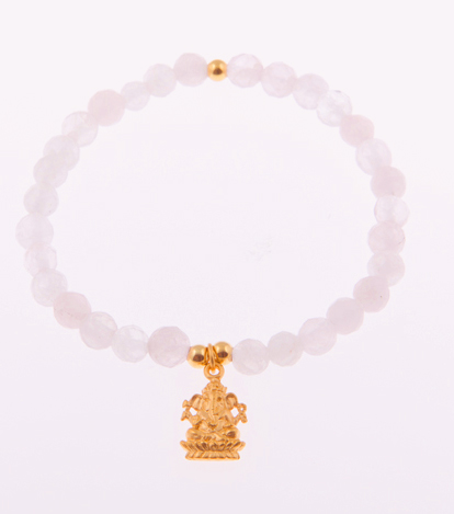 Opportunity Presents Ganesh Charm Bracelet in Rose Quartz