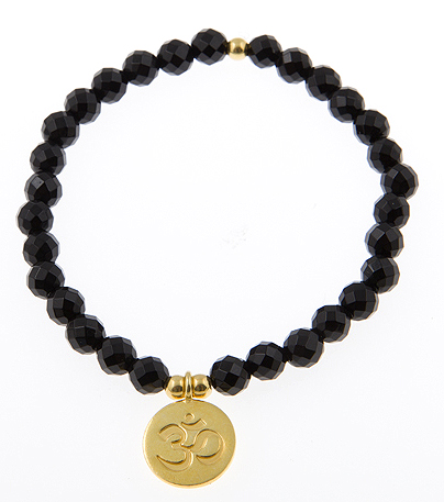 Infinite Ohm Coin Charm Bracelet in Black Oynx