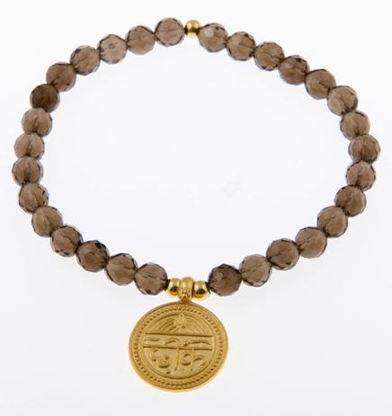 In Good Health Sanskrit Coin Charm Bracelet in Smoky Quartz