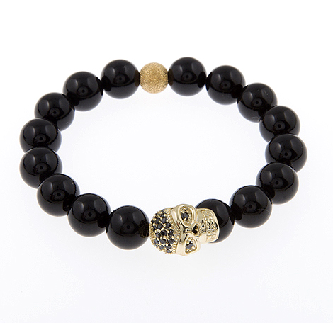 Spark of Life Gold Vermeil Black Crystal Pave Skull Gemstone Bracelet