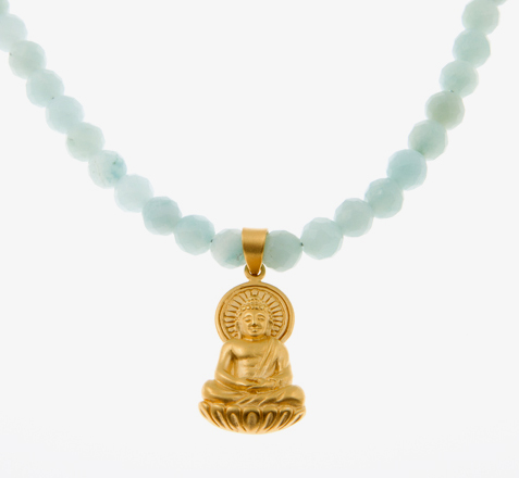 Peace Love & Compassion Buddha Charm Guru Necklace in Amazonite