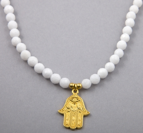 In Protection Gold Hand of Hamsa Charm Guru Necklace in White Jade