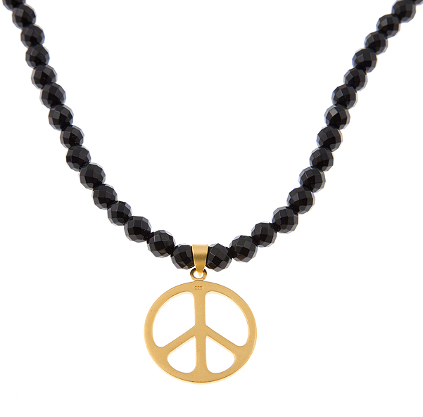 No Negativity Peace Sign Guru Necklace in Black Oynx
