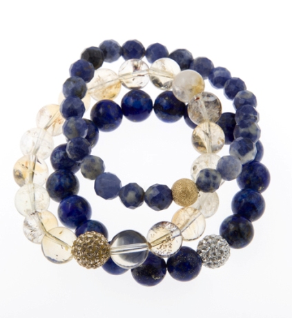 Harmony Karma Power Stack Gemstone Bracelets in  Lapis Lazuli, Citrine and Denim Sodalite