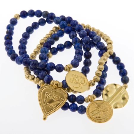 Royal Luxe Lapis Lazuli Gold Vermeil Gypsy Mix stack of Five Bracelets