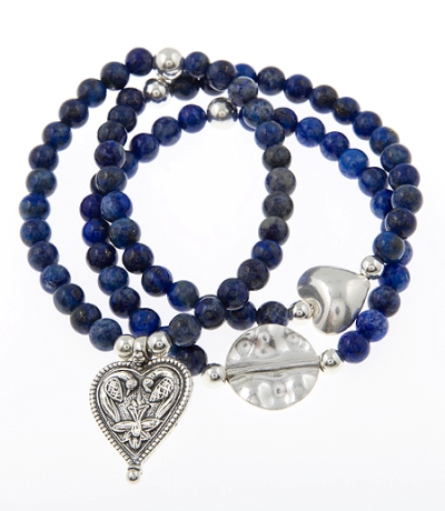 Royal Mix Lapis Lazuli Gypsy Mix Set of 3 Bracelets in Sterling Silver