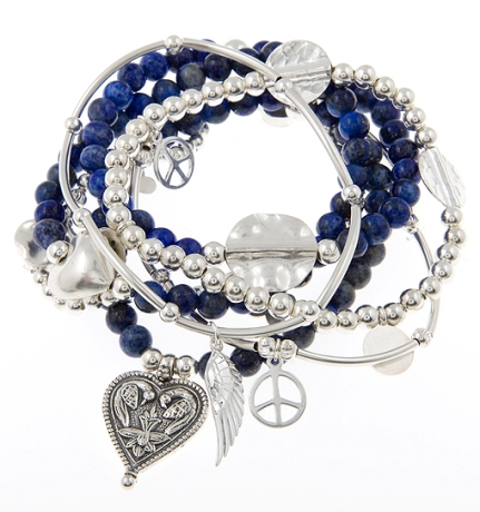 Super Royal Mix Lapis Lazuli and Sterling Silver Skinny Gypsy Mix Bracelet Stack