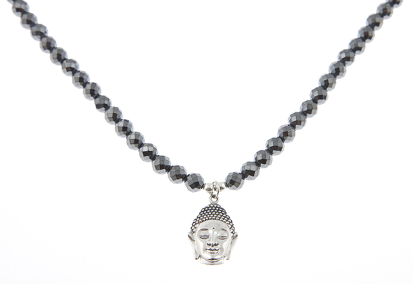 Peace Love & Compassion Sterling Silver Buddha Head Guru Charm Necklace in Haemetite
