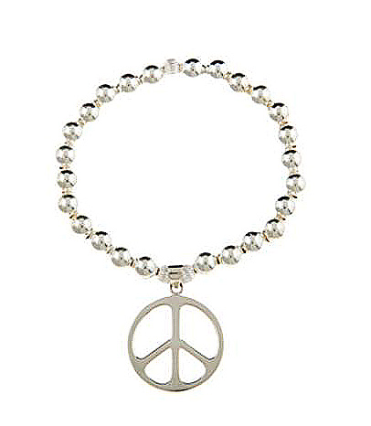 Sterling Silver Large Peace Sign Bracelet