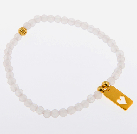 Open Your Heart Light Rose Quartz Gemstone Friendship Bracelet  with Love Cutout Charm