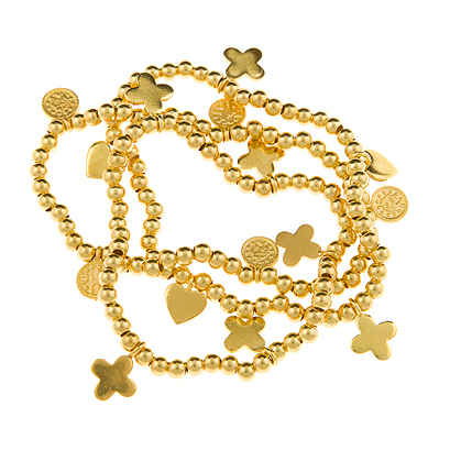 Love and Kisses Gold Vermeil 3 Bracelet Set