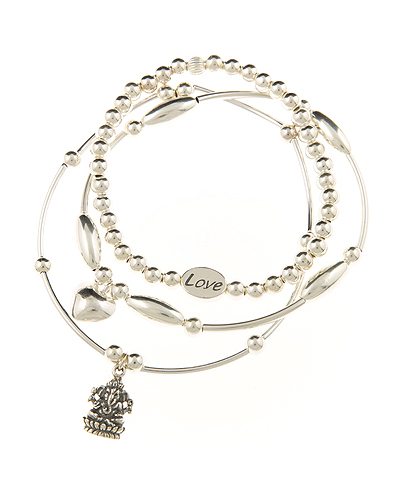 Love and Opportunity Sterling Silver Skinny Bracelet Set