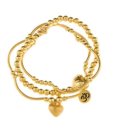 Love and Peace Gold Vermeil 3 Bracelet Noodle Set