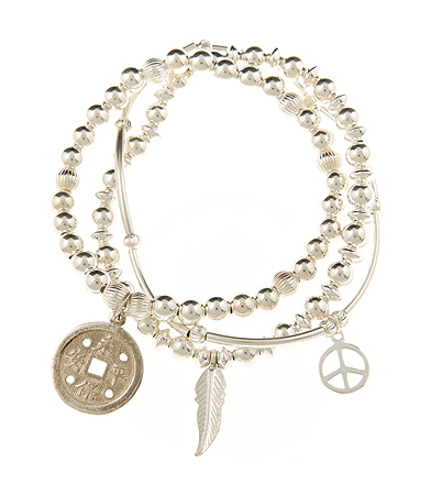 Luck and Peace Sterling Silver Skinny Bracelet Set