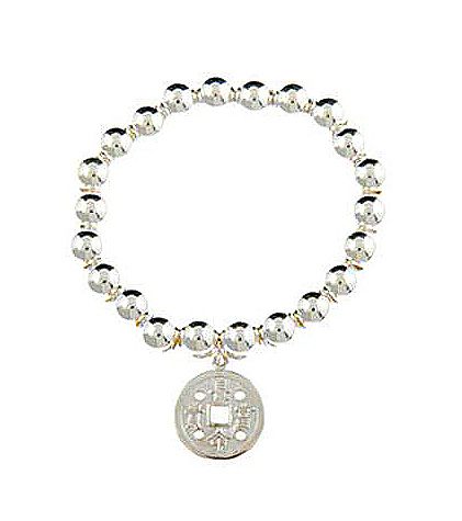 Sterling Silver Lucky Chinese Coin Charm Bracelet