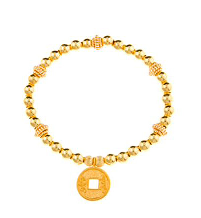 Gold Vermeil Lucky Chinese Coin Charm Bracelet