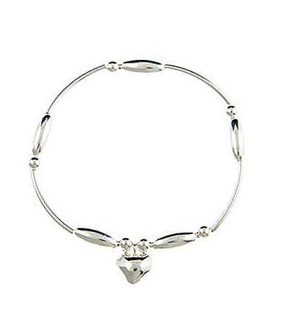 Sterling Silver Noodle Heart Charm Bracelet