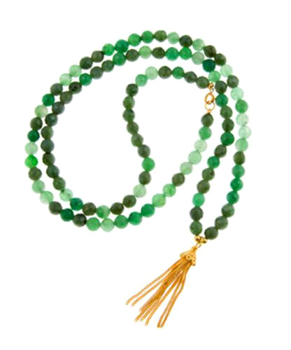 With Luck Green Jade Gemstone Mala Bead Necklace with Gold Vermeil Tassel