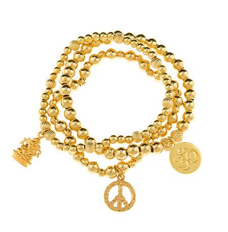 Peace Opportunity & Infinity Gold Vermeil Bracelet Set