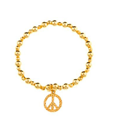 Gold Vermeil Peace Sign Bracelet