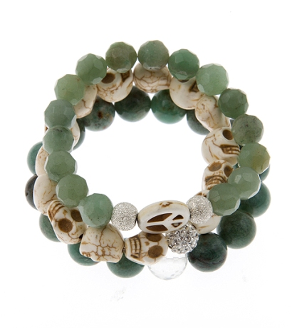 Peace and Luck Karma Power Stack Gemstone Bracelets in Aventurine, Jade and White Howlite