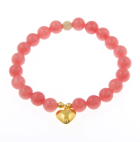 Heart's Desire Pink Jade Gemstone Bracelet with Puffed Heart Charm