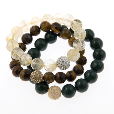 Protect Love and Courage Karma Power Stack Gemstone Bracelets in Citrine Tigereye and Jade