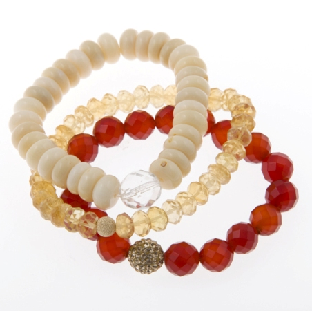Rest and Recharge Karma Power Stack Gemstone Bracelets in White Coral Citrine and Carnelian