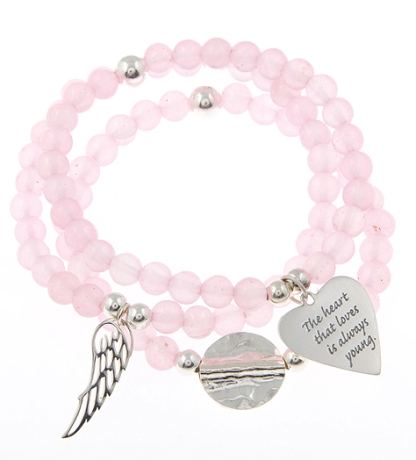 Bijoux Rocks Love Bomb Rose Quartz Gypsy Mix Set of 3 Bracelets in Sterling Silver