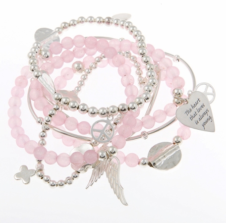 Super Love Bomb Rose quartz and Sterling Silver Skinny Gypsy Mix Bracelet Stack