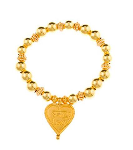 Gold Vermeil Sanskrit Inscribed Love Heart Charm Bracelet