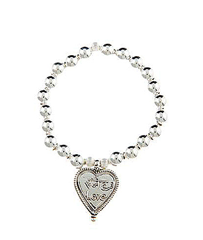 Sterling Silver Sanskrit Inscribed Love Heart Charm Bracelet