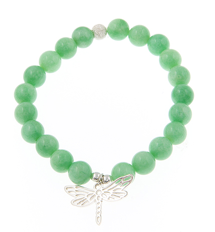 Seize the Day Shamrock Jade Gemstone Bracelet with Sterling Silver Dragonfly Charm