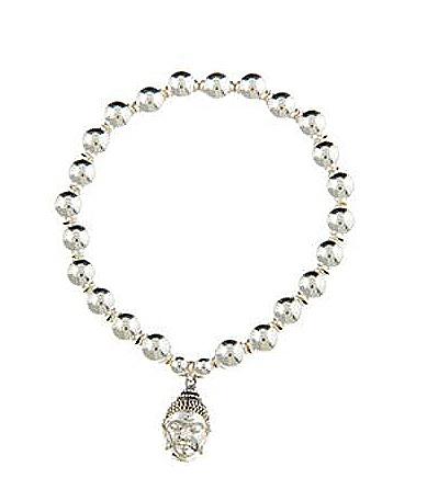 Serenity II Sterling Silver Small Buddha Head Bracelet