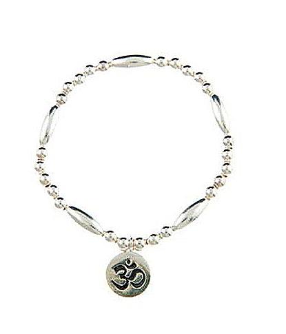 Infinity Ohm Sterling Silver Oval Bead Bracelet