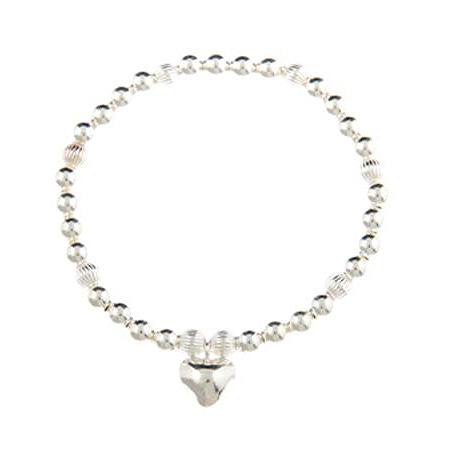 Love Rocks Sterling Silver Puffed Heart Charm Bracelet