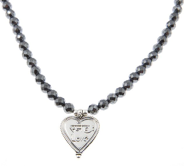 Love Unlimited Indian Heart Charm Guru Necklace in Hametite