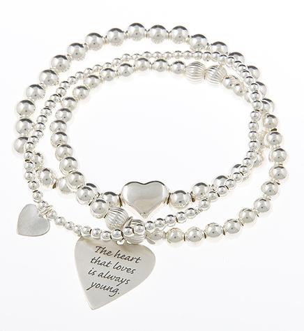 Love Heart Sterling Message Bracelet Stack