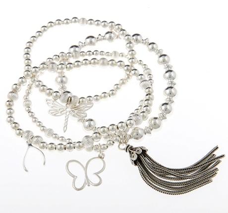 Lucky Tassel Sterling Silver Bracelet Stack